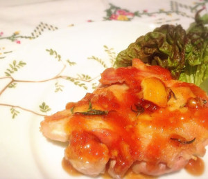 鶏モモ肉の三種の柑橘コンフィチュールソース